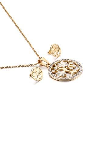 Glamorousky white Fashion Simple Plated Gold Tree Geometric Round 316L Stainless Steel Necklace and Stud Earring Set with Cubic Zirconia 58B2AAC468C15AGS_1