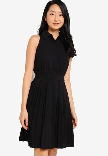 ZALORA BASICS black Pleated Sleeveless Shirt Dress F7B58AA5036AC1GS_1