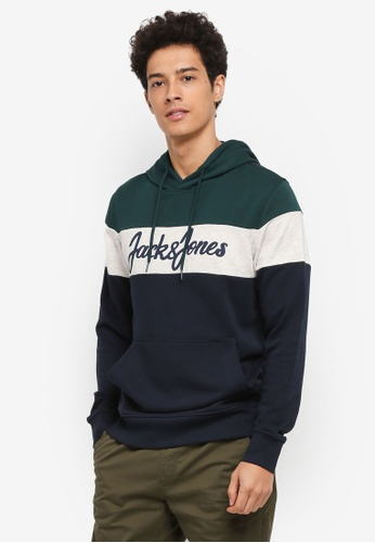 Jack & Jones green and navy Gold Sweat Hood 1D187AA3EB30F2GS_1