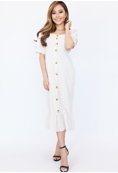 15a3c863cd5 Hook Clothing white Short Sleeve Button Front Midi Dress A9E33AA202B90DGS 1