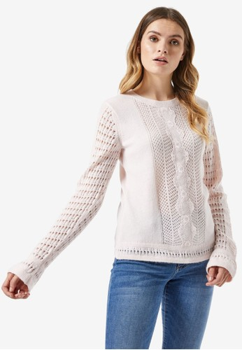 Dorothy Perkins pink Lace Front Panel Jumper 68E06AA3F3A2B0GS_1