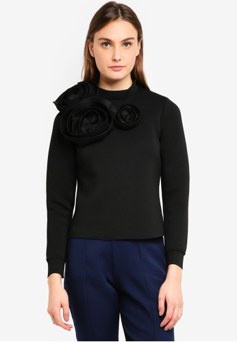 LOST INK black P Rose Scuba Bow Sweater 63692AA8490385GS_1