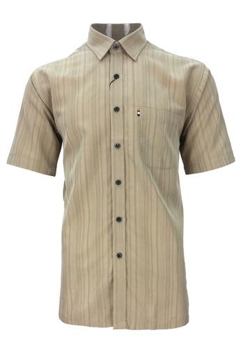 Pacolino brown Pacolino - Plain Formal Casual Short Sleeve Men Shirt B19E9AA9675DFDGS_1