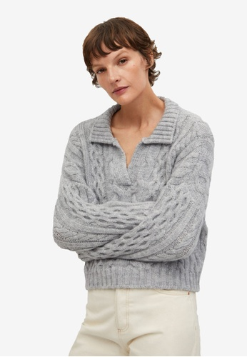 Mango grey Polo Style Sweater 7E00AAA49F3BB9GS_1