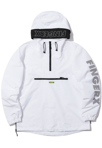Fingercroxx white Logo print anorak 76789AAB9B6270GS_1