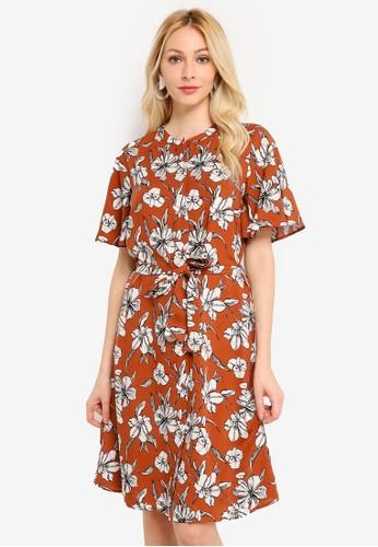 LC Waikiki orange Waistband Floral Viscose Dress 23C57AA6ACAC77GS_1