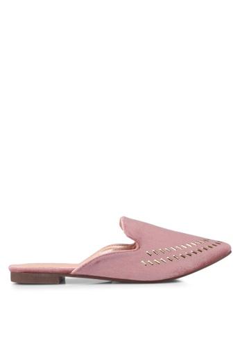 Something Borrowed pink Studded Pointed Slip Ons E480ESH124B706GS_1