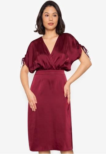 ZALORA WORK red Ruched Sleeves Blouson Midi Dress AD52DAA719447CGS_1