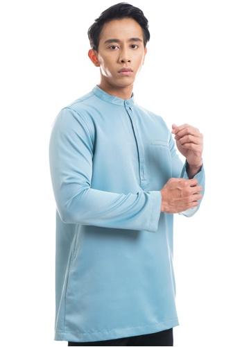 Ashura green and blue Luzman Kurta With Layered Button 7807AAA3C37DE4GS_1