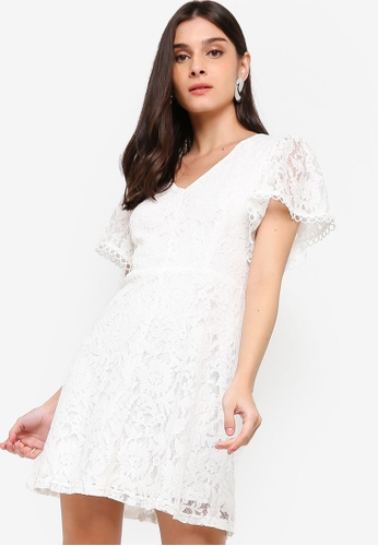 ZALORA white Button Down Fit And Flare Lace Dress 10F05AA63E4B57GS_1