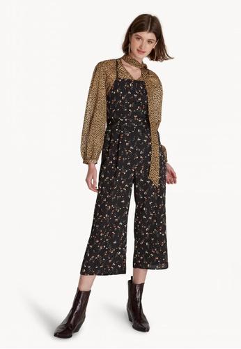 d2bc0750bc7 Pomelo black Cropped Floral Cross Back Jumpsuit - Black CA044AACF9BC50GS 1