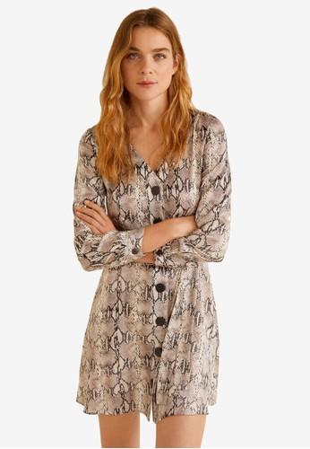 Mango beige Satin Snake-Print Dress 64A29AAFA9B656GS_1