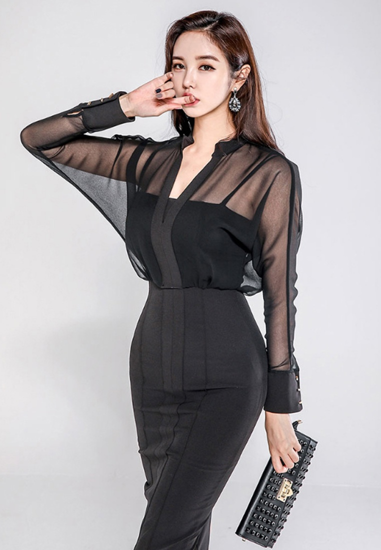 New Dress CA011708 Black Piece Black One Sunnydaysweety Through 2018 See TdnOdqf