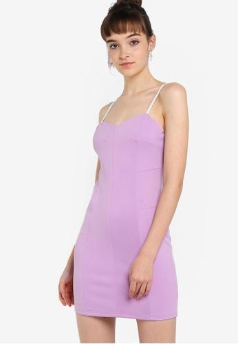 Something Borrowed 紫色 Sweetheart Neck Bodycon Dress D69B9AA59BB961GS_1