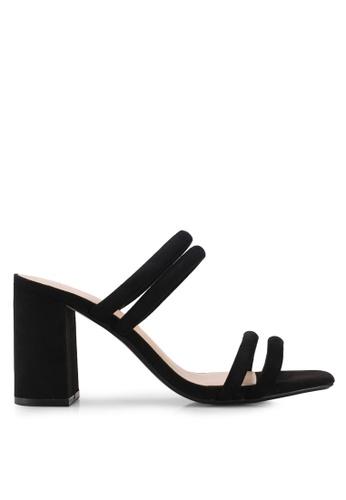 Mango black Leather Straps Sandals 5175CSH29195A4GS_1