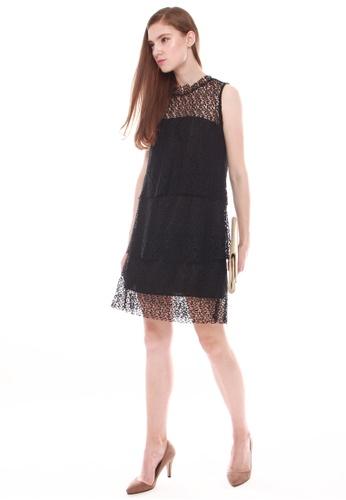 JOVET black Tiered Lace Dress 682FBAA4CD662FGS_1