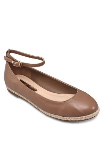 圓頭繞踝編織平底鞋, 女鞋esprit tsim sha tsui, 芭蕾平底鞋