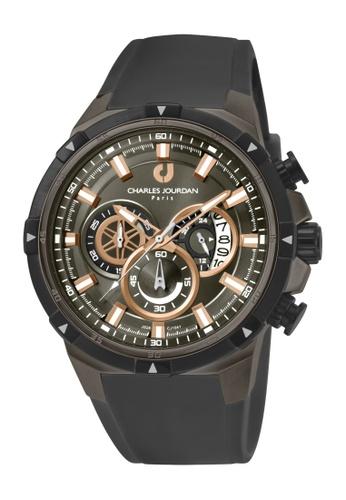 Charles Jourdan black Charles Jourdan Men CJ1041-1732C Black Silicone Watch A5EF7ACDC77296GS_1