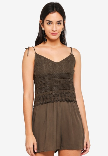 ONLY brown Peach Strappy Playsuit 5BC42AAFB858CCGS_1