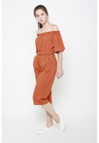 Sophialuv orange No Strings Attached Off The Shoulder Jumpsuit in Burnt Orange E0D1DAAA4680FFGS_1