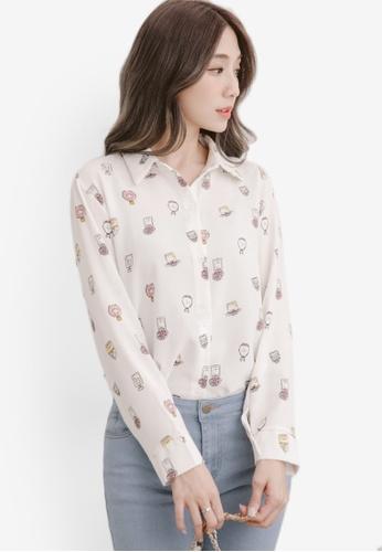 Eyescream white Perfume Print Long Sleeve Shirt 8850BAA8D9C3ACGS_1