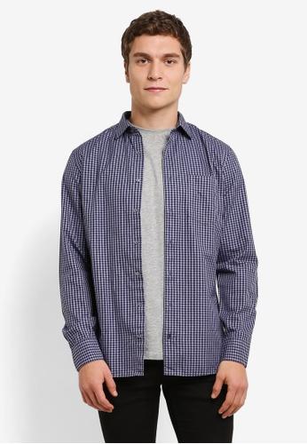 MANGO Man navy Slim-Fit Checked Cotton Shirt MA449AA0RV10MY_1