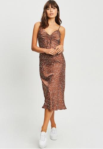 Calli brown Anaya Midi Dress DD4ECAA4A8BD75GS_1