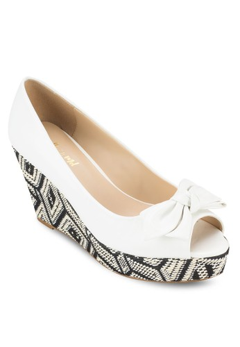 蝴蝶結露趾印花楔形鞋esprit服飾, 女鞋, 鞋