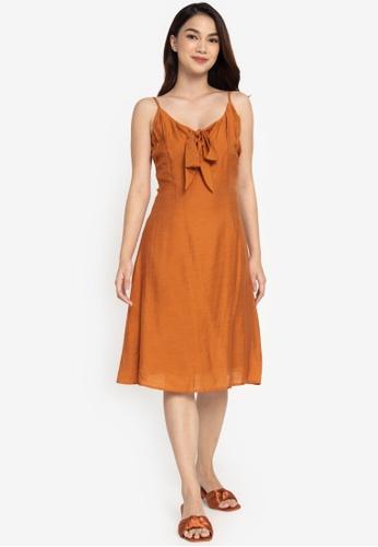 ZALORA BASICS brown Tie Front Dress F1E89AA2854E13GS_1