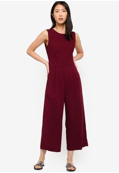 1f2ae1f81c6 ZALORA BASICS red Basic Crew Neck Jumpsuit 47435AA4DF2441GS 1