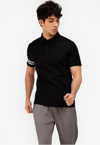 ZALORA ACTIVE black Striped Detail Sleeve Polo Shirt C4A7FAA1A068ABGS_1