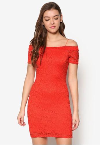 細肩帶esprit門市露肩蕾絲連身裙, 服飾, 洋裝