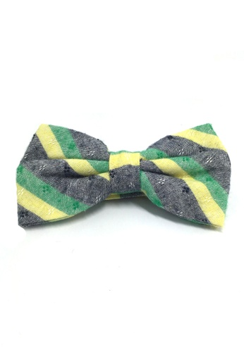 Splice Cufflinks Probe Series Green, Blue and Yellow Striped Pattern Design Cotton Pre-tied Bow Tie SP744AC99QPSSG_1
