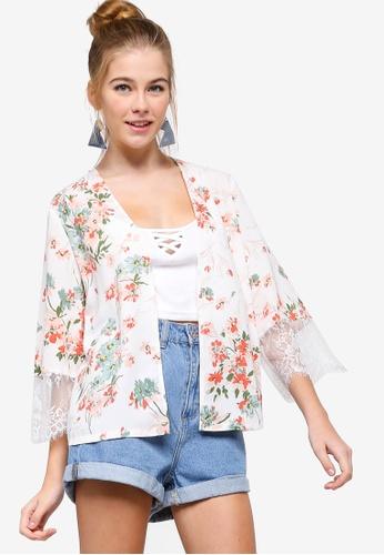 Something Borrowed white Lace Insert Kimono 812CBAA35AEDA9GS_1