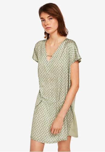 Mango green Contrasting Design Dress 4E9C1AAD08917FGS_1