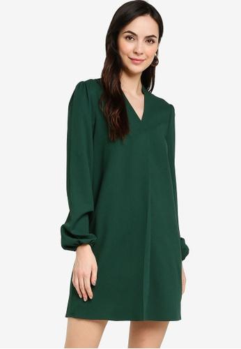ZALORA WORK green Puff Sleeves Shift Dress 75278AA10B27EFGS_1