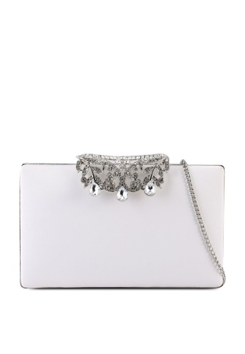 Forever New white Mira Crystal Fold Over Clutch F0BE2AC4839613GS_1