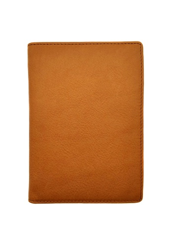 LUXORA brown and orange The Ninja Co. Passport Wallet - Full Grain Leather Cowhide - Travel Card Holder Men Women Gift Brown A7022AC9704726GS_1