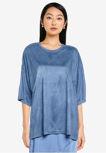 JEANASIS blue Velveteen T-Shirt 9EA58AA1899BC4GS_1