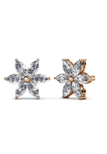Her Jewellery gold Petal Flower Earrings (Rose Gold) - Made with premium grade crystals from Austria 721FDAC10894B4GS_1
