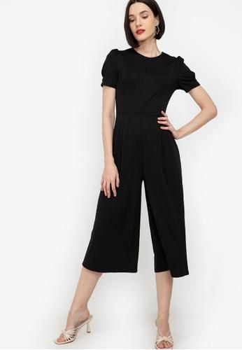 ZALORA WORK black Puff Sleeves Culotte Jumpsuit D1554AA9B79F93GS_1