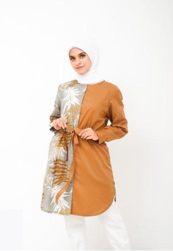 My Daily Hijab blue and multi Mareta Tunik Olive D8E3DAADCF6E62GS_1