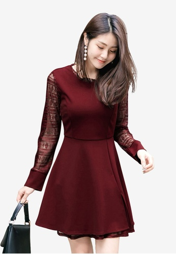 Tokichoi red A-Line Skirt with Lacy Sleeves 42636AA75B5C75GS_1
