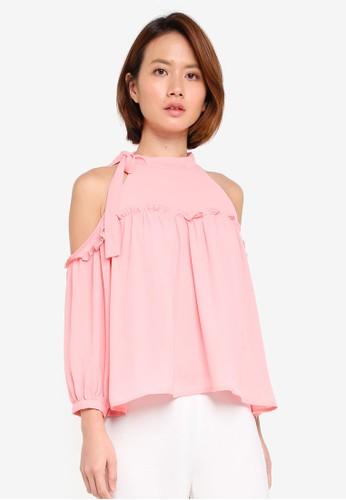 KLEEaisons pink Cold Shoulder Tie Neck Top A48D5AA655B4D3GS_1