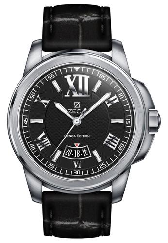 ZECA black and silver Zeca Watches Men Fashion Leather Analog - 261M Black ZE260AC43SMMSG_1