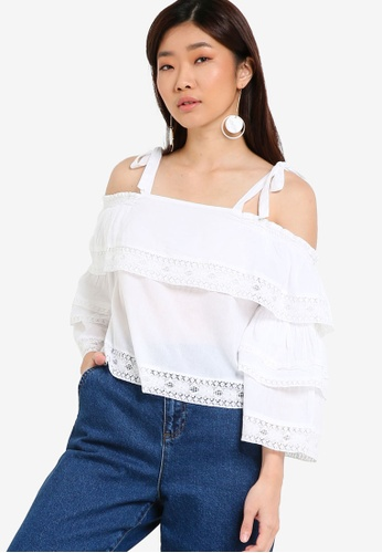 TOPSHOP white Lace Trim Layer Sun Top TO412AA10PVHMY_1