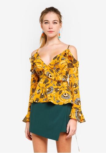 dc375487f71209 Buy Dressing Paula Cold-Shoulder Floral Chiffon Top