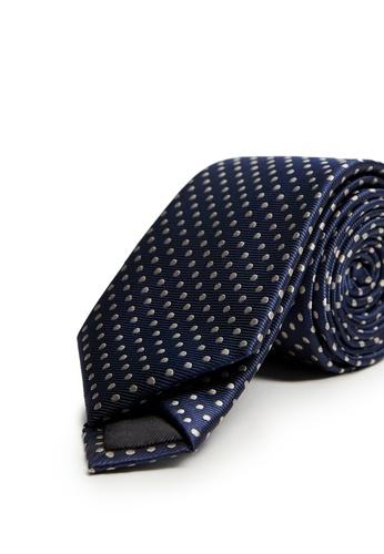MANGO Man blue Polka-Dot Patterned Tie 59676ACAAD1755GS_1