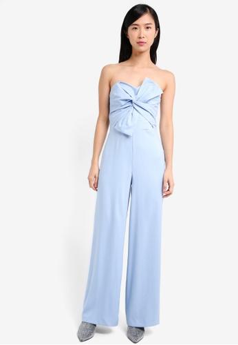 Miss Selfridge blue Premium Bow Front Jumpsuit MI665AA0SS6IMY_1