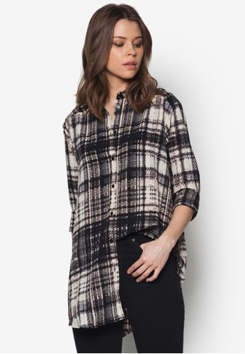 寬zalora鞋版格紋長袖襯衫, 服飾, 服飾
